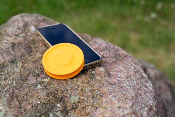 Orange Minifrisbee on the go
